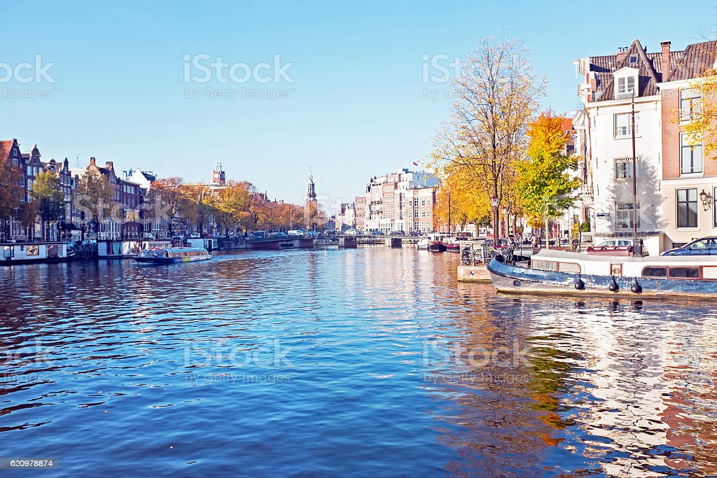City scenic from Amsterdam in the Netherlands in autumn stock photo