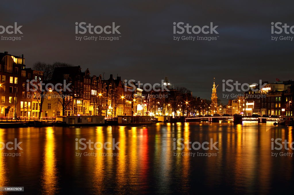 City scenic in Amsterdam the Netherlands at twilight stock photo