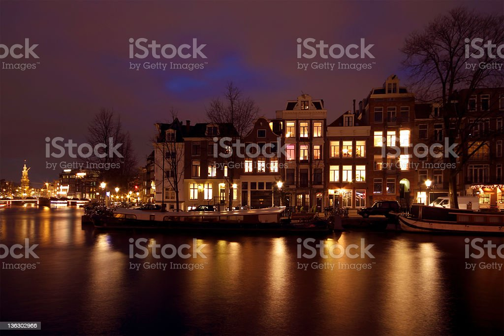 City scenic in Amsterdam the Netherlands at twilight royalty-free stock photo
