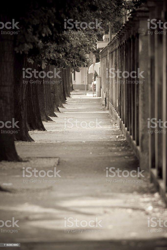 City Sdewalk, Sepia Toned royalty-free stock photo