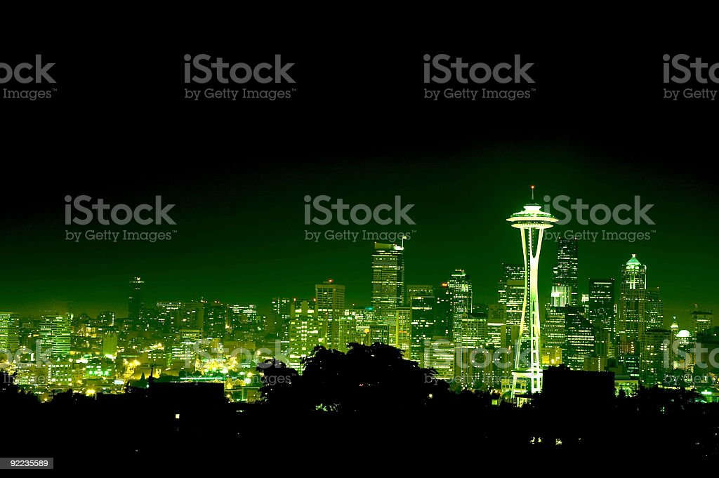 City - Seattle at Night 4 royalty-free stock photo