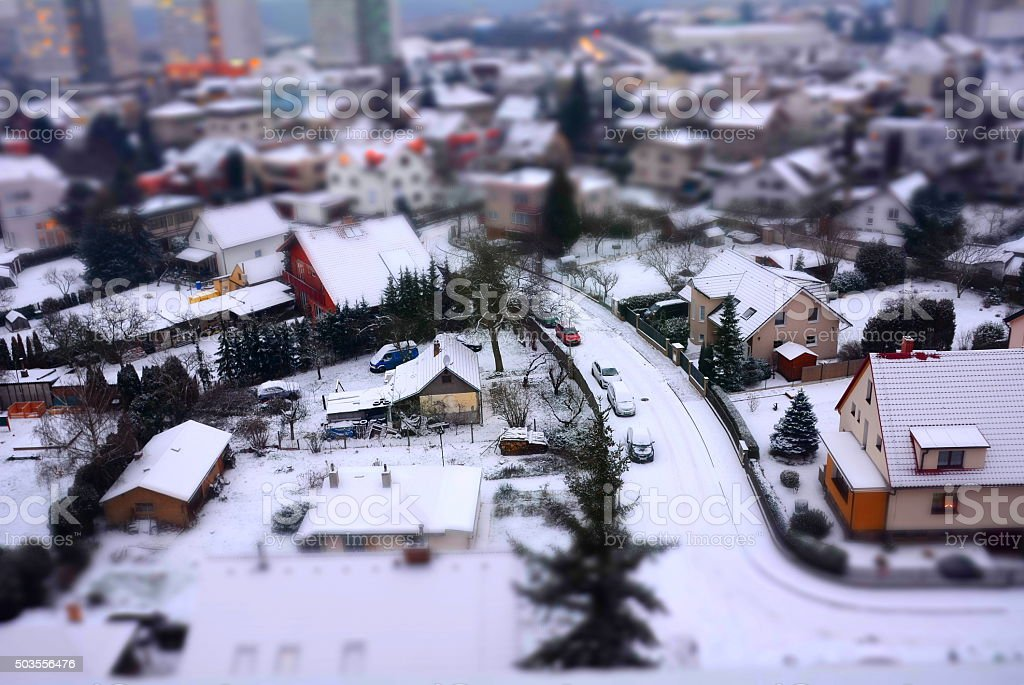 City shot with tilt shift effect stock photo