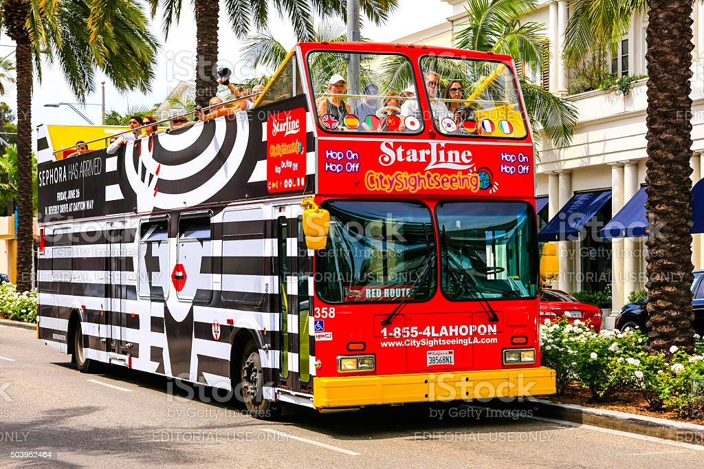 City Sightseeing bus in Beverly Hills CA stock photo