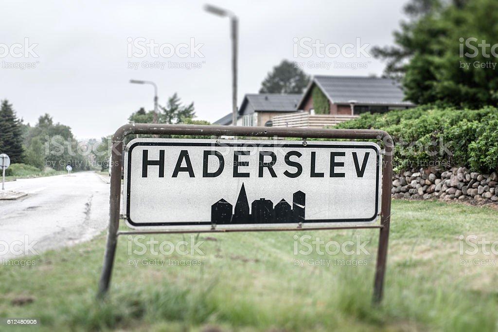 City sign of Haderslev stock photo