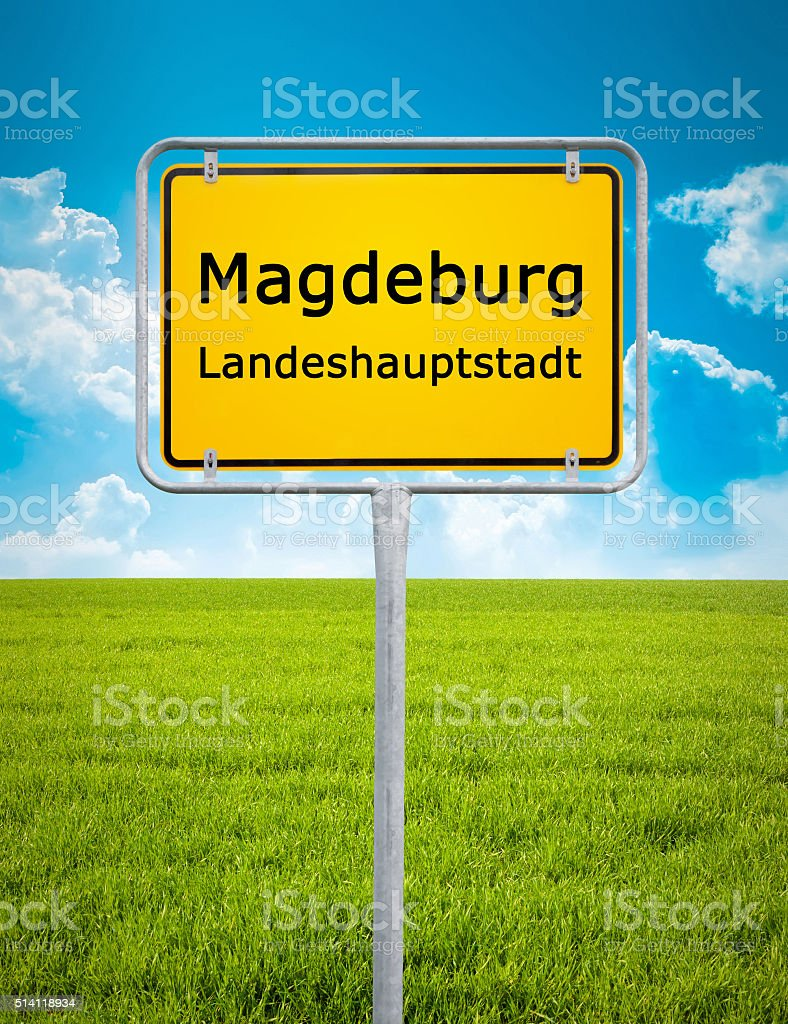 city sign of Magdeburg stock photo