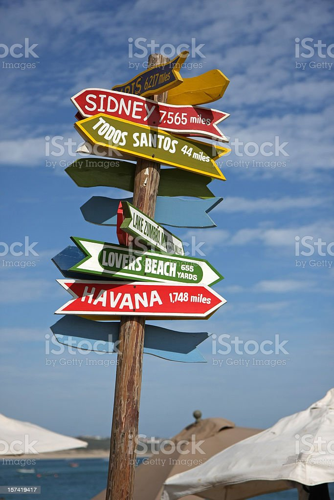 city signs stock photo