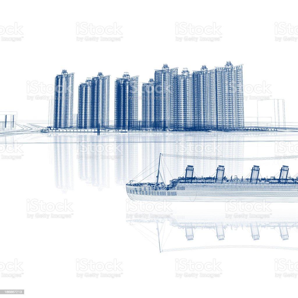 City Sketch royalty-free stock photo