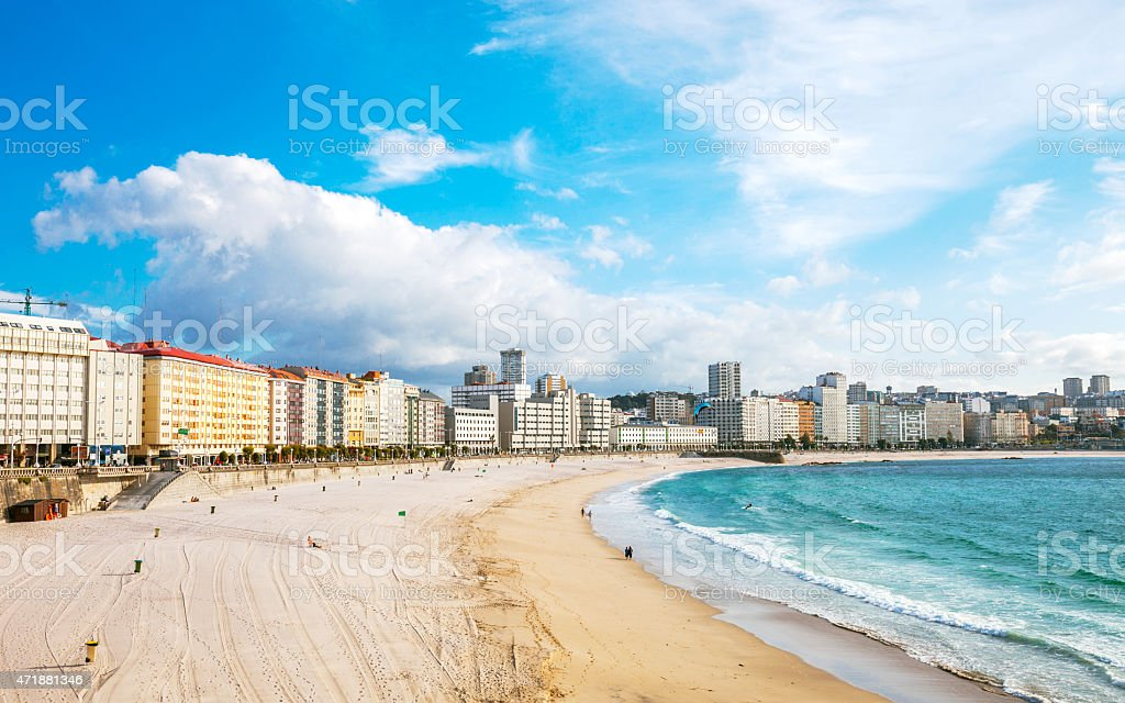 City skyline and beach. La Coruna, Galicia, Spain. stock photo