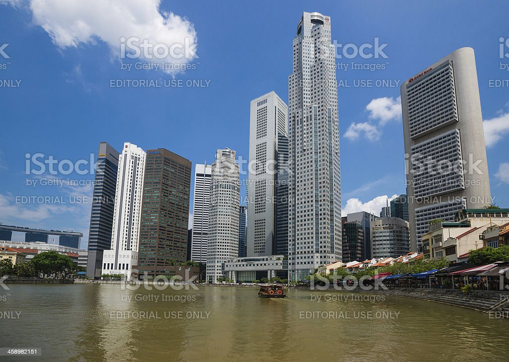 City Skyline and Boat Quay in Singapore royalty-free stock photo