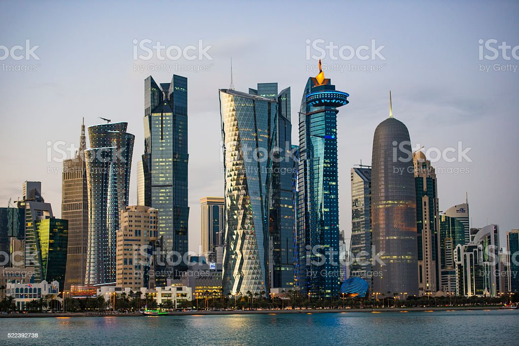 City Skyline and buildings  - Doha , Qatar stock photo