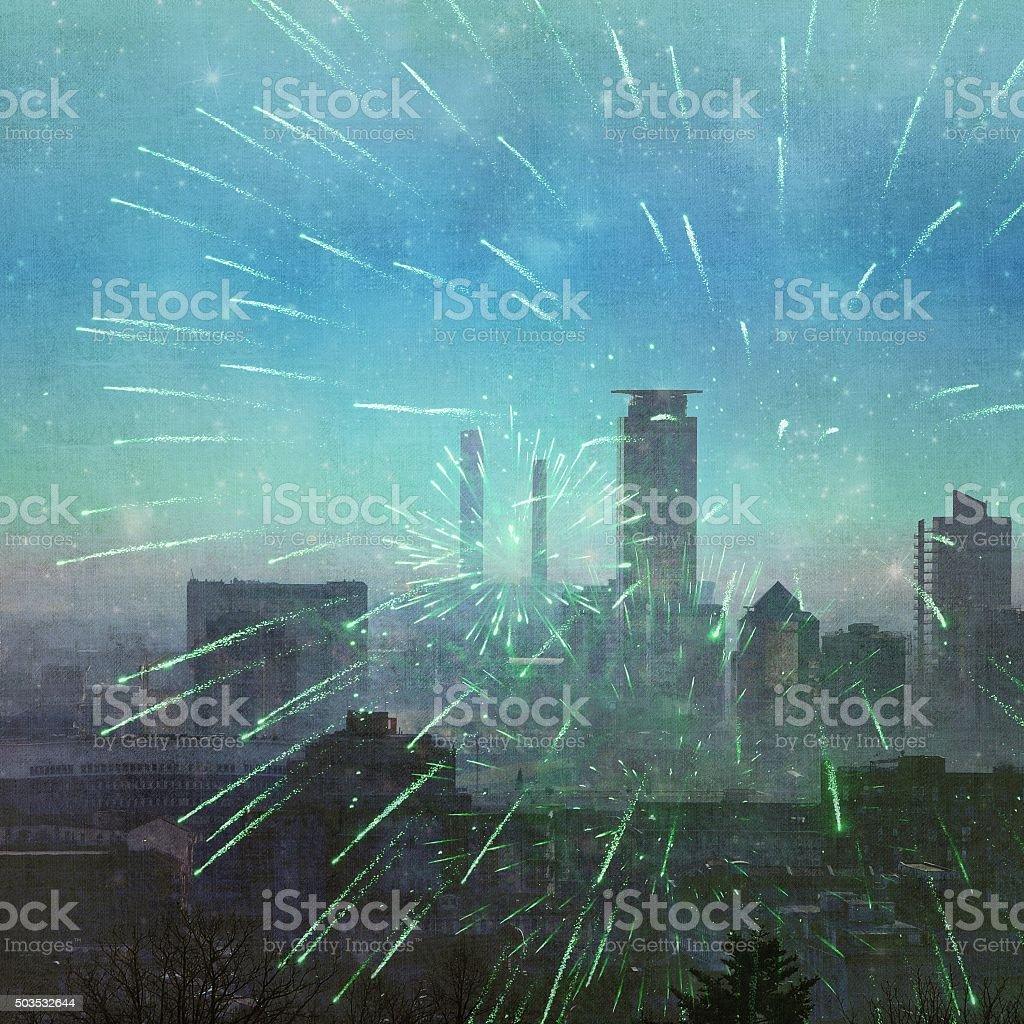 City skyline and fireworks stock photo
