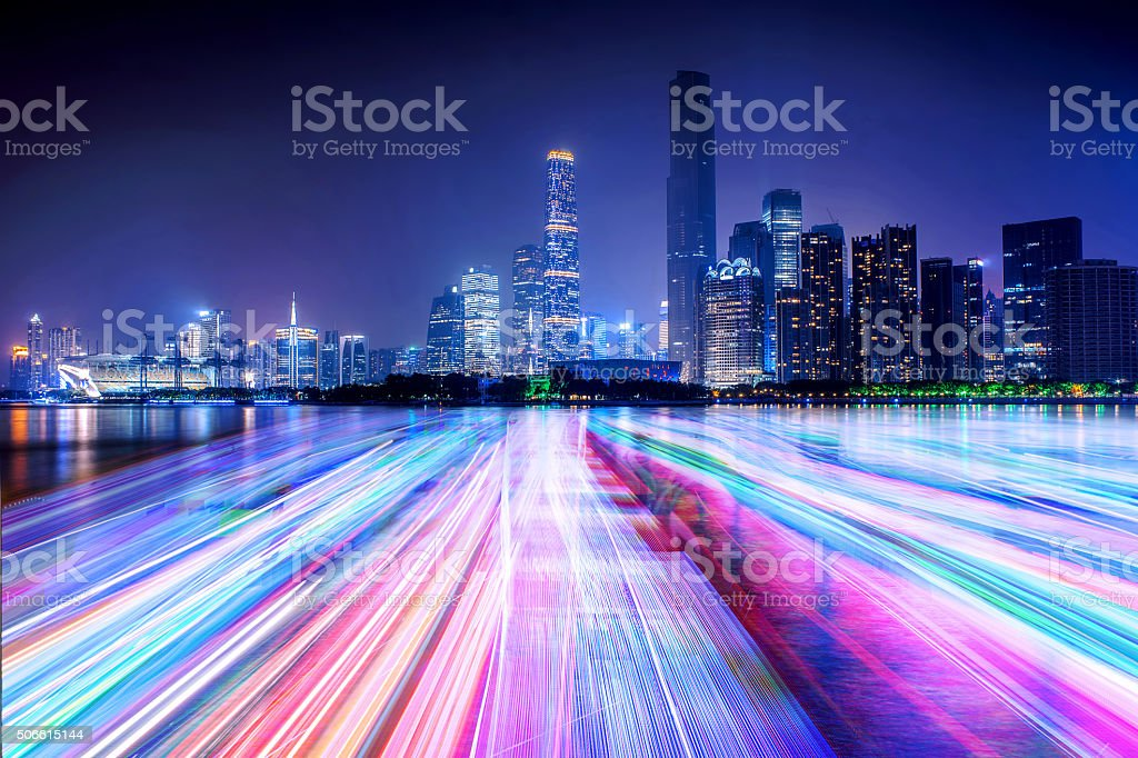 city skyline and light line on the river stock photo