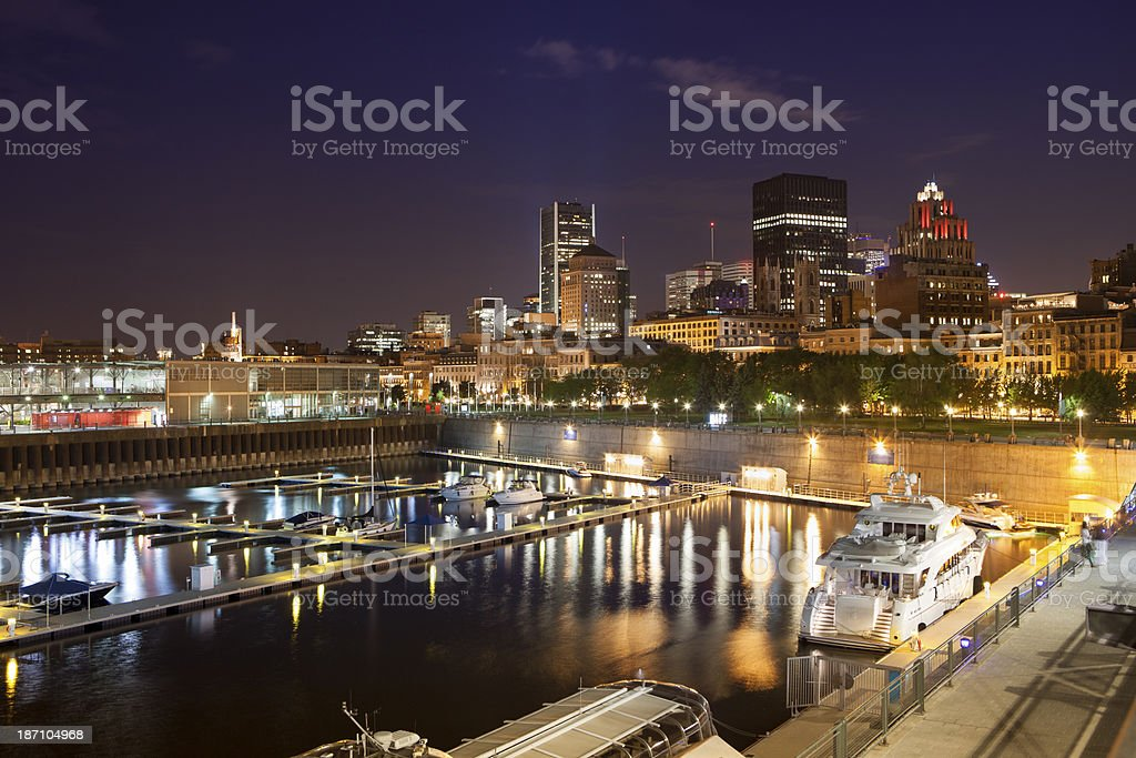 City skyline and marina Montreal, Canada royalty-free stock photo