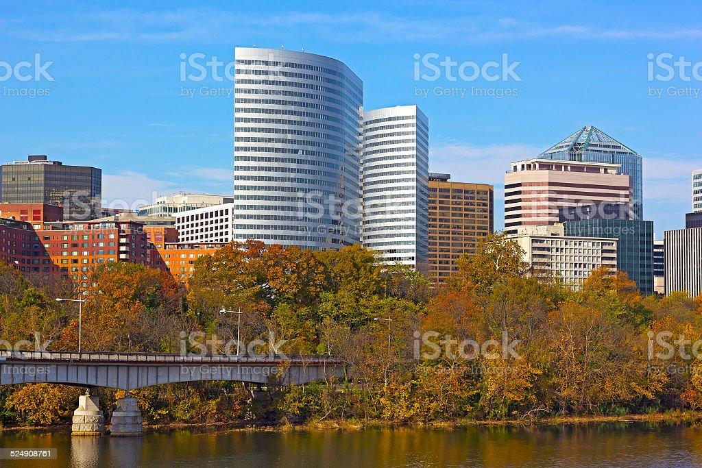 City skyline and trees in autumn, Virginia, USA. stock photo