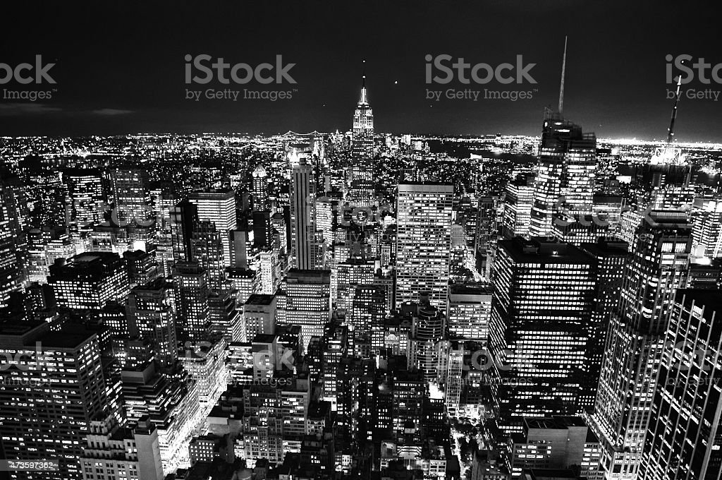 City Skyline at Night in New York USA. stock photo