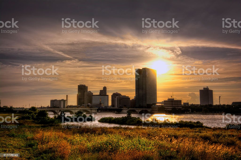 City Skyline at Sunset stock photo