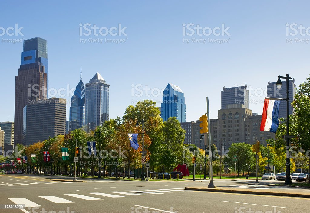 City skyline; Benjamin Franklin Parkway, Philly stock photo