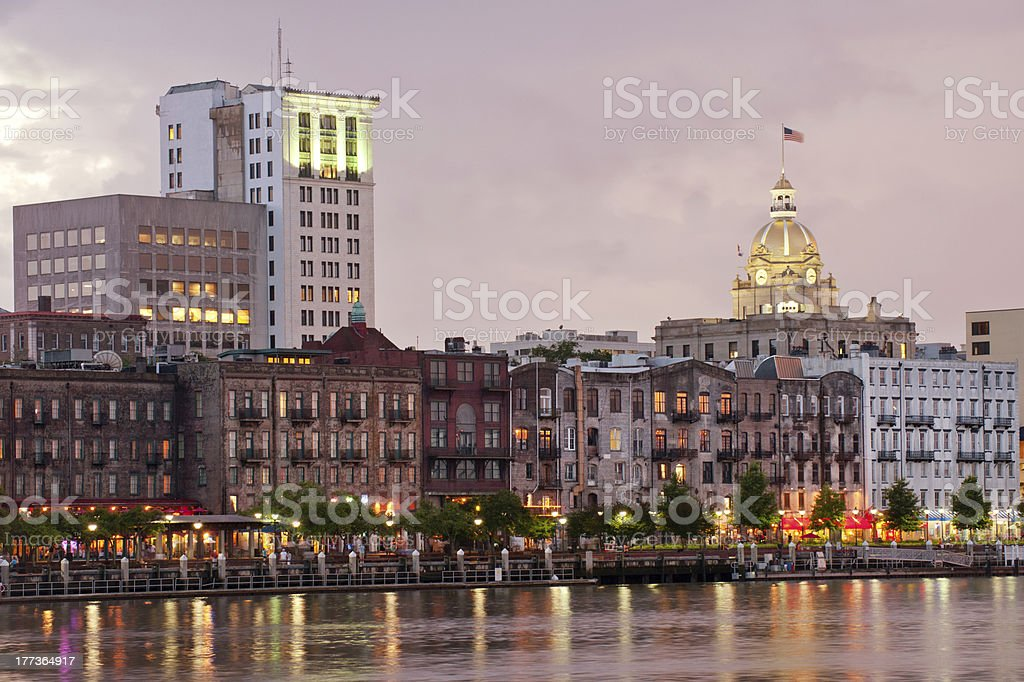 City skyline by harbor in Savannah stock photo