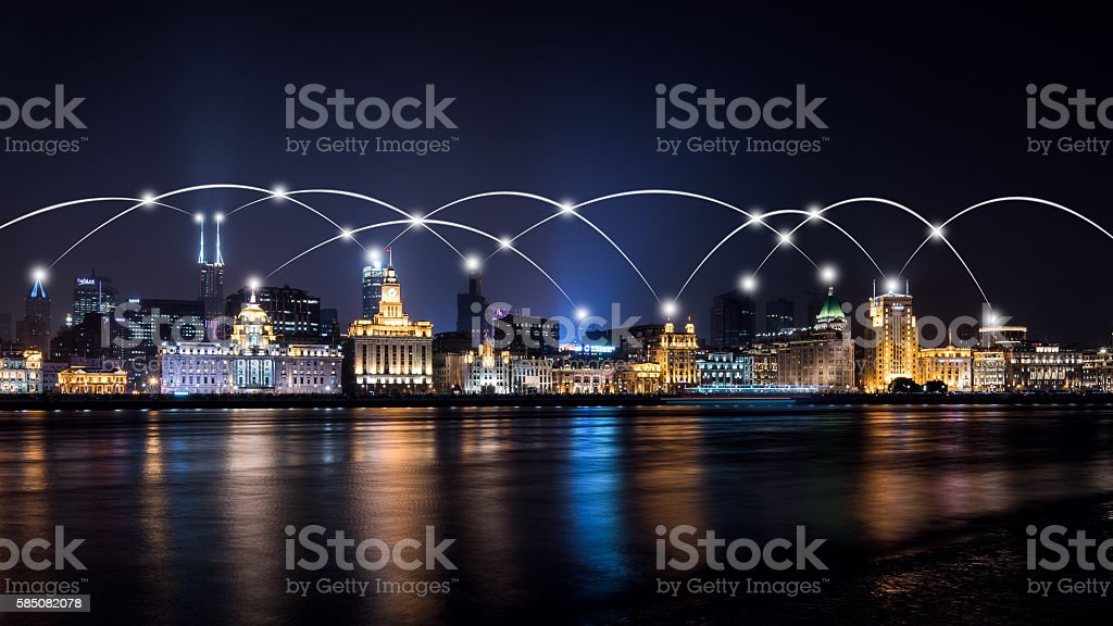 city skyline connection network stock photo