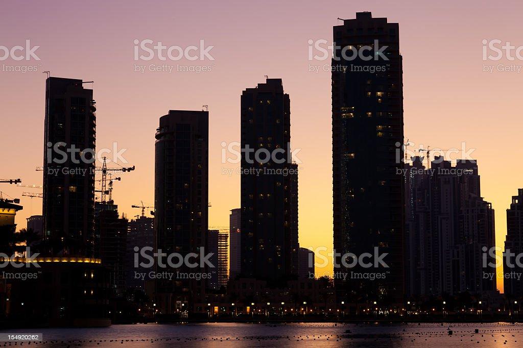 City skyline from Dubai Mall by night royalty-free stock photo
