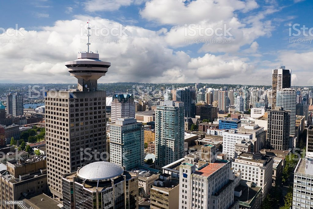City skyline in downtown Vancouver, British Columbia royalty-free stock photo