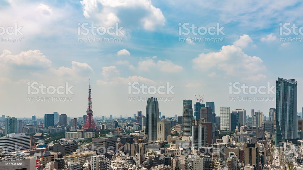 City skyline in Tokyo showing a mix of architecture styles stock photo