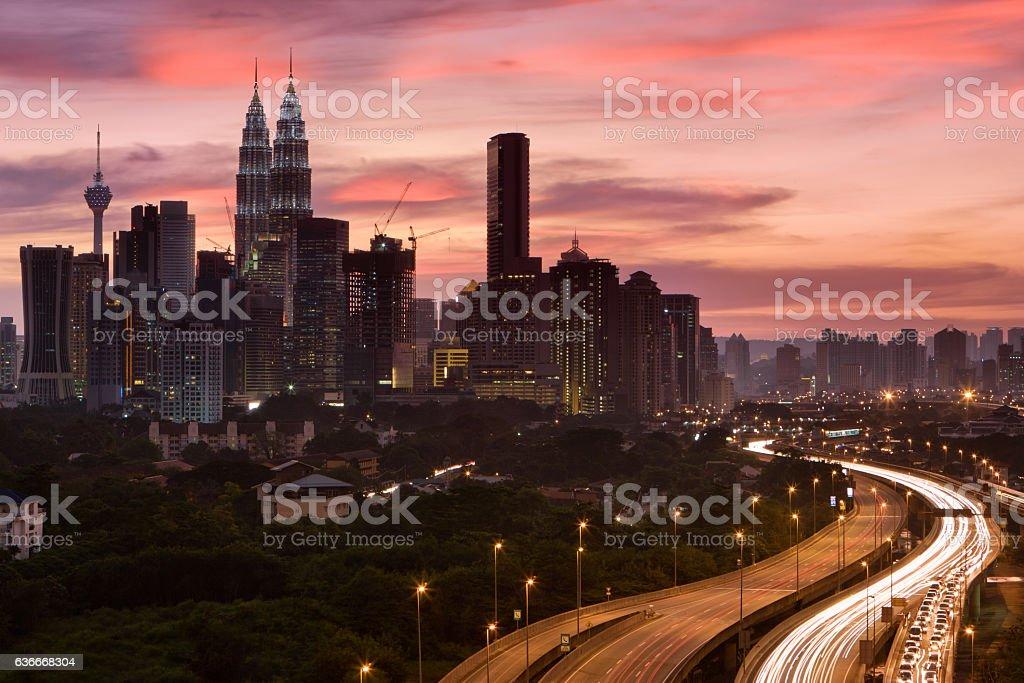 City skyline - Kuala Lumpur at dusk stock photo