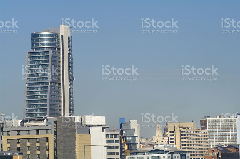 City skyline Leeds UK stock photo