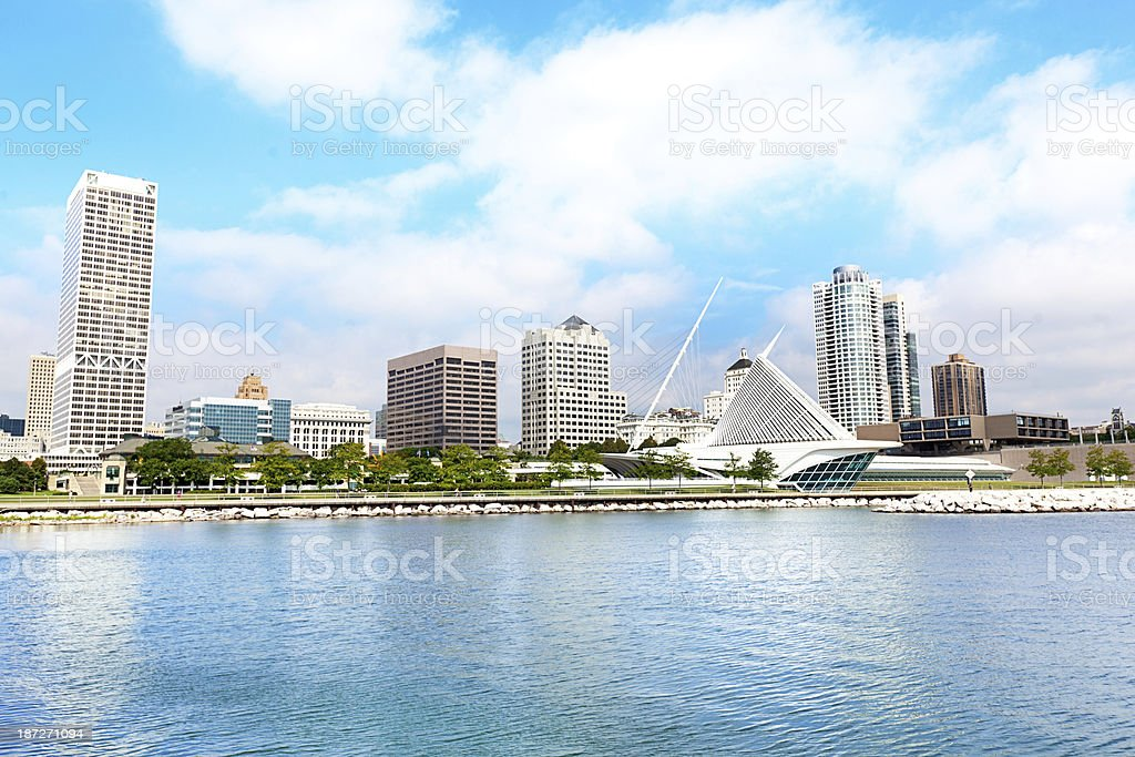 City Skyline, Milwaukee, Wisconsin, USA viewed from Lake Michigan Waterfront stock photo