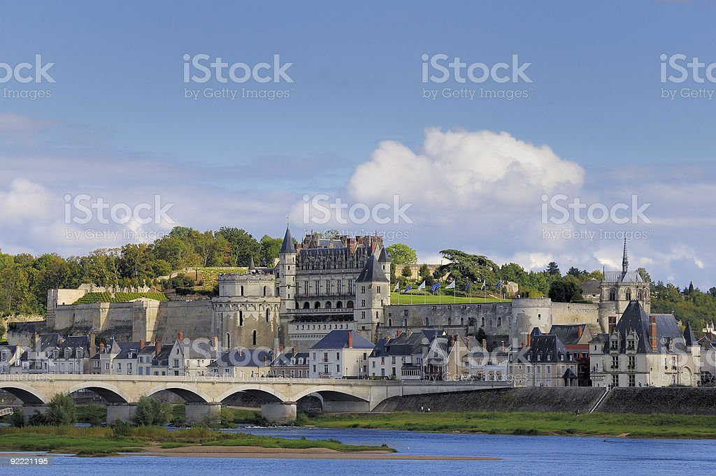 City skyline of Amboise with a blue sky stock photo