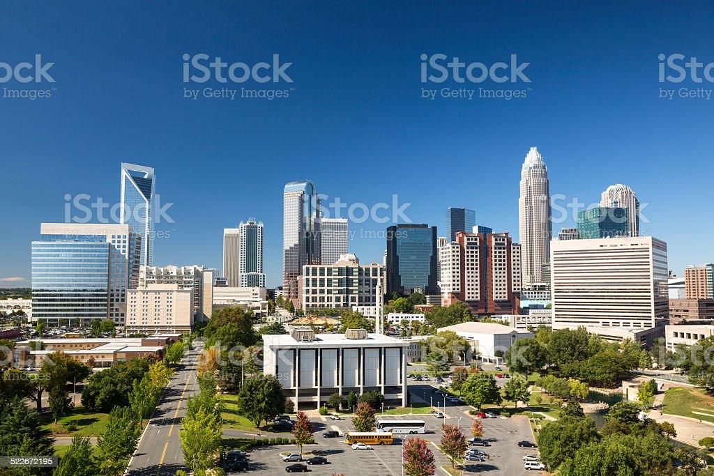 City skyline of Charlotte North Carolina USA stock photo