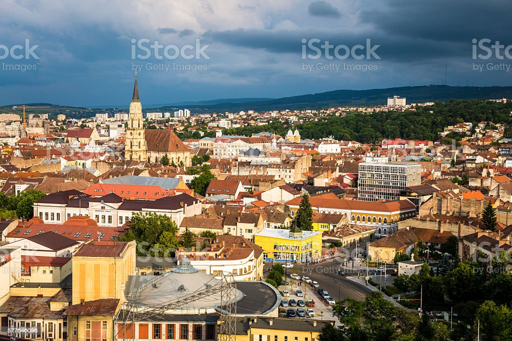 City Skyline of Cluj-Napoca, Romania, at Dusk stock photo