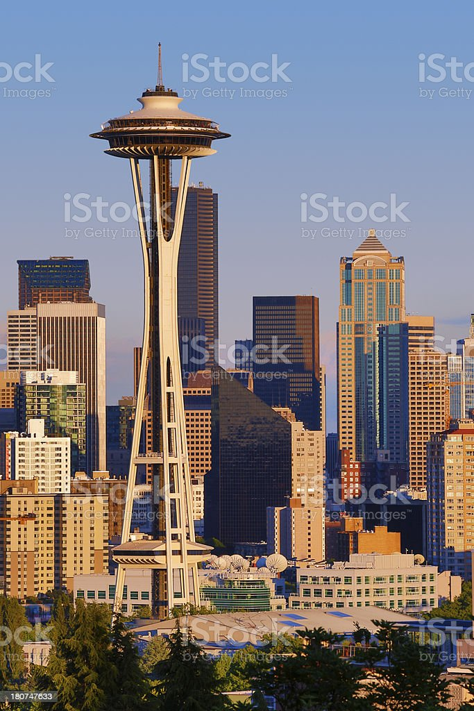 City Skyline of Downtown Seattle stock photo