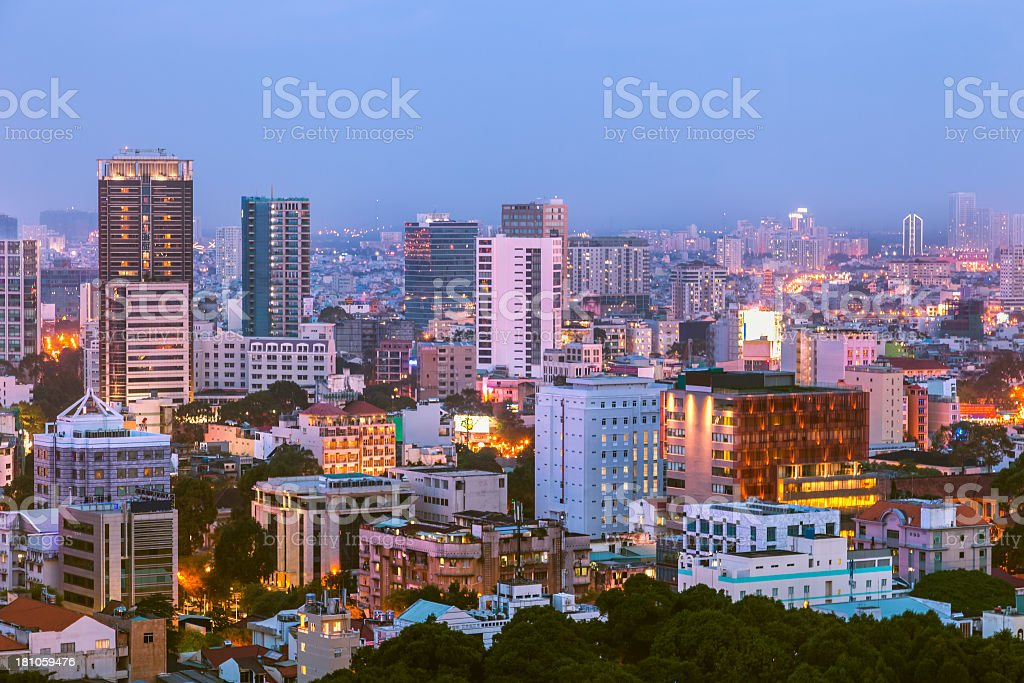 City skyline of Ho Chi Minh at dusk stock photo