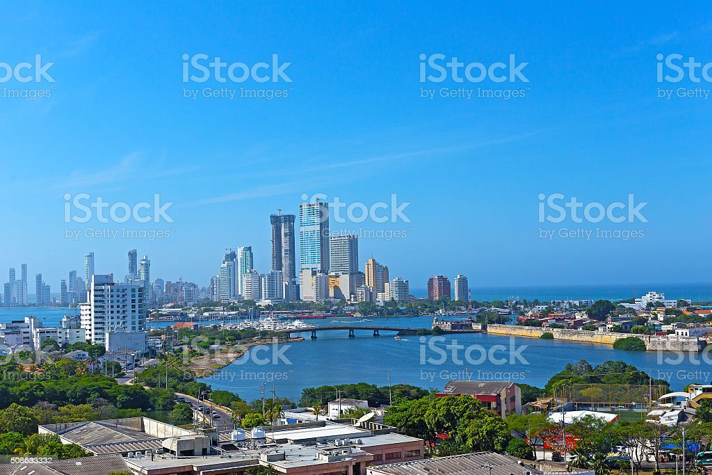 City skyline of modern Cartagena, Colombia. stock photo