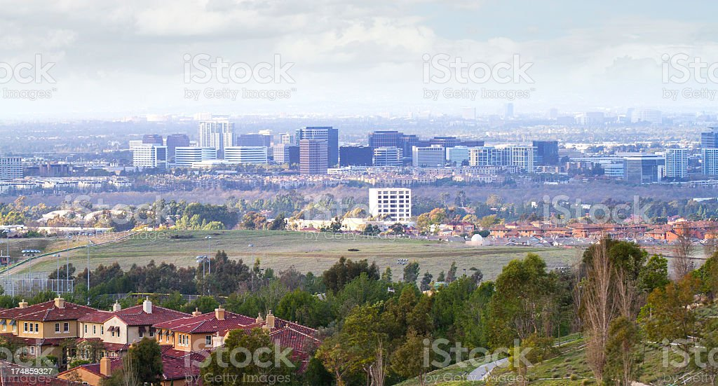 City skyline of Orange County, California  stock photo