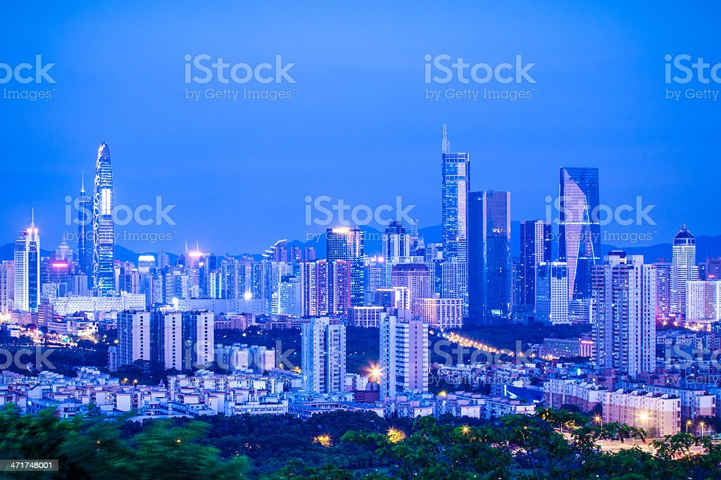 City skyline of Shenzhen, China stock photo