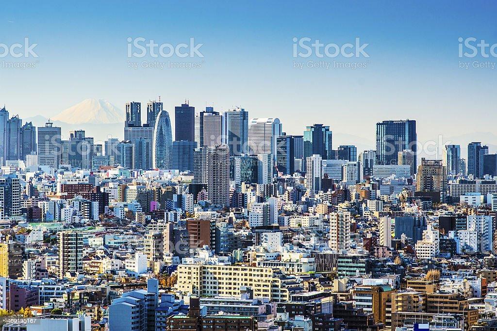 City skyline of Tokyo Japan on a sunny day stock photo