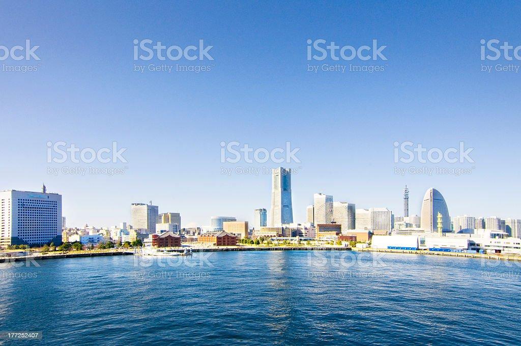 City skyline of Yokohama waterfront in Japan on sunny day stock photo