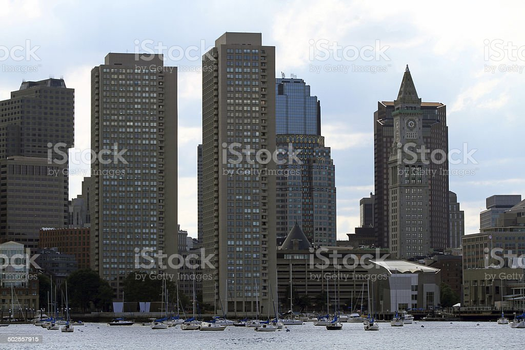 City skyline with harbor in summer stock photo