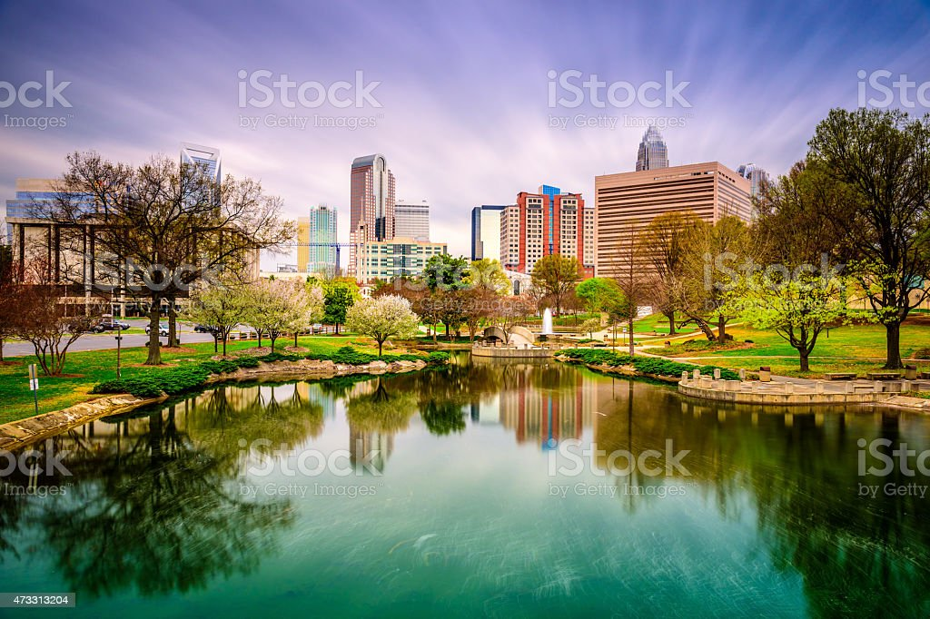 City skyline with lake in Charlotte in North Carolina stock photo