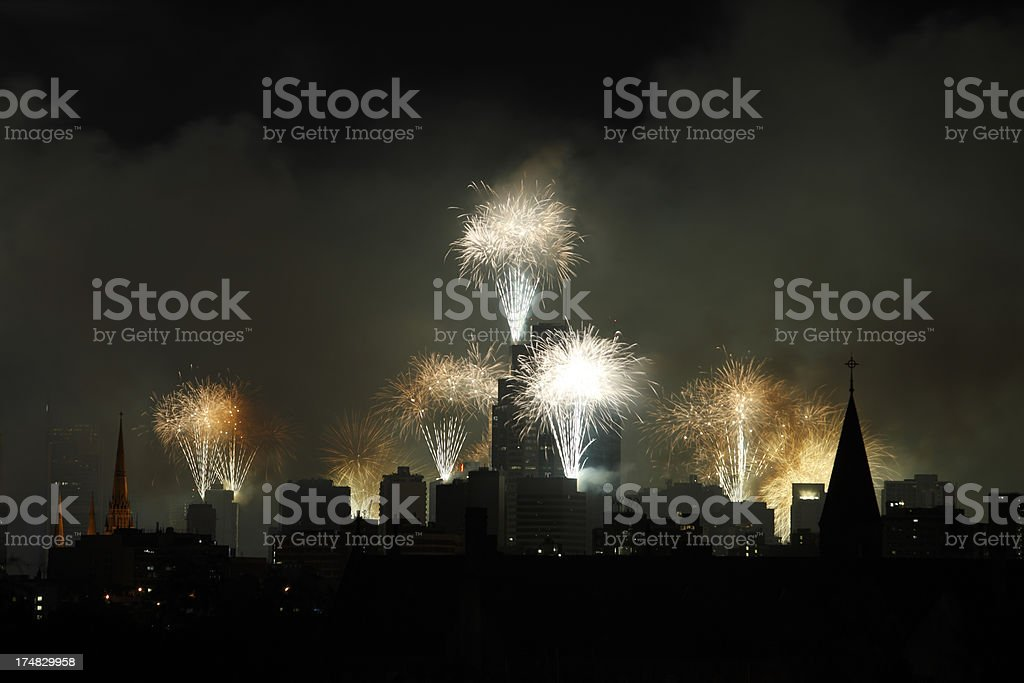 City skyline with New Year fireworks royalty-free stock photo