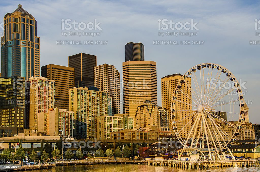 City Skyline with the Seattle Great Wheel royalty-free stock photo