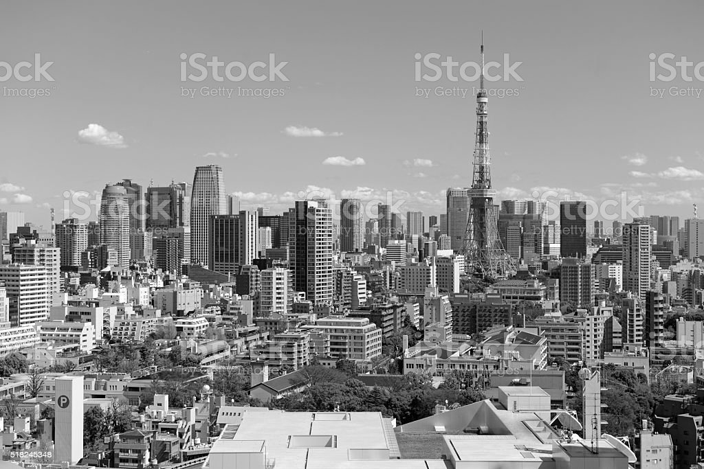 City skyline with Tokyo Tower, Japan stock photo
