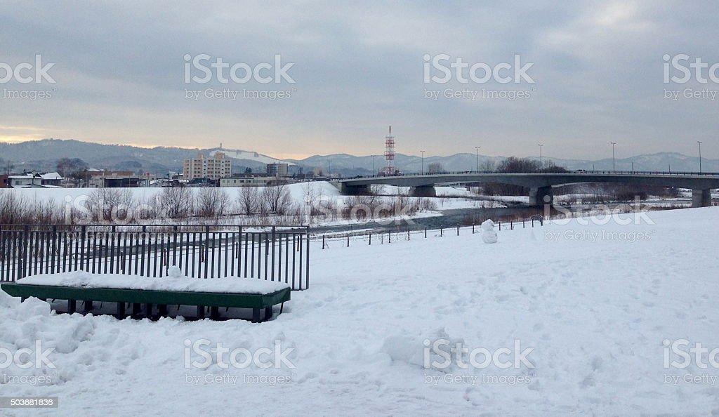 city snow scape in winter3 stock photo
