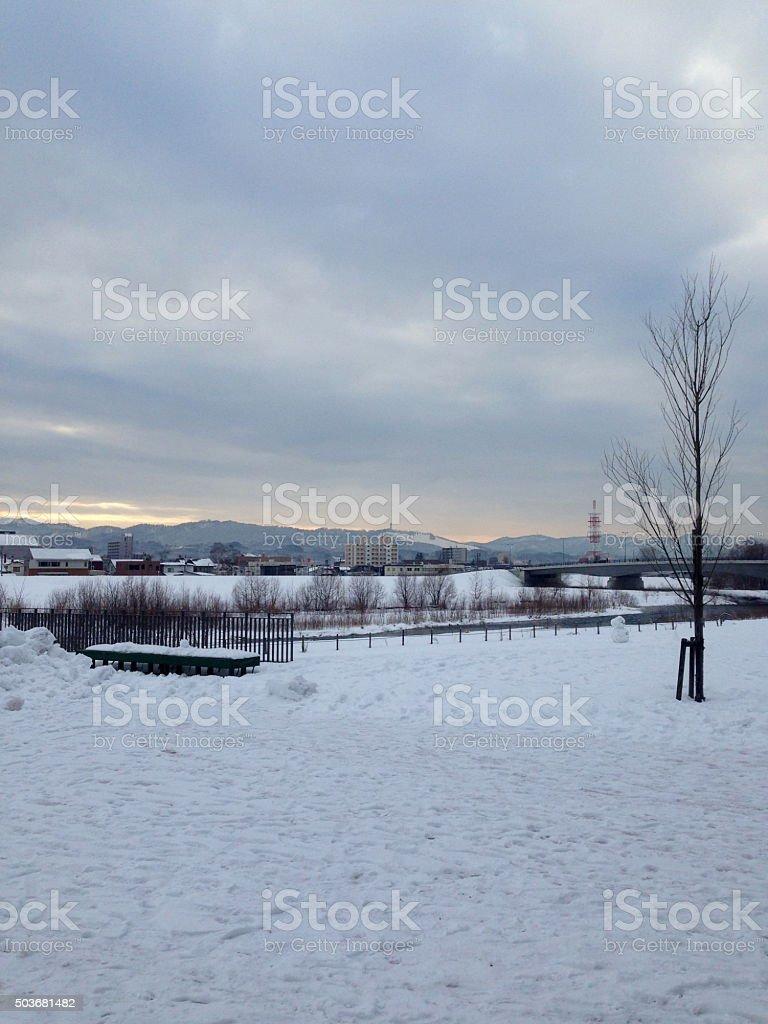 city snow scape in winter5 stock photo