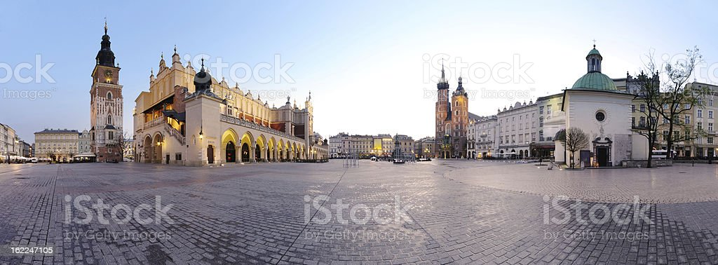 City square in Krakow stock photo