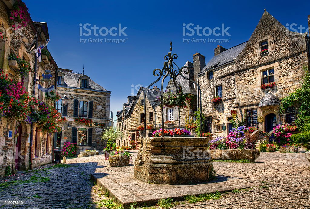 City Square of Rochefort en Terre, Brittany stock photo