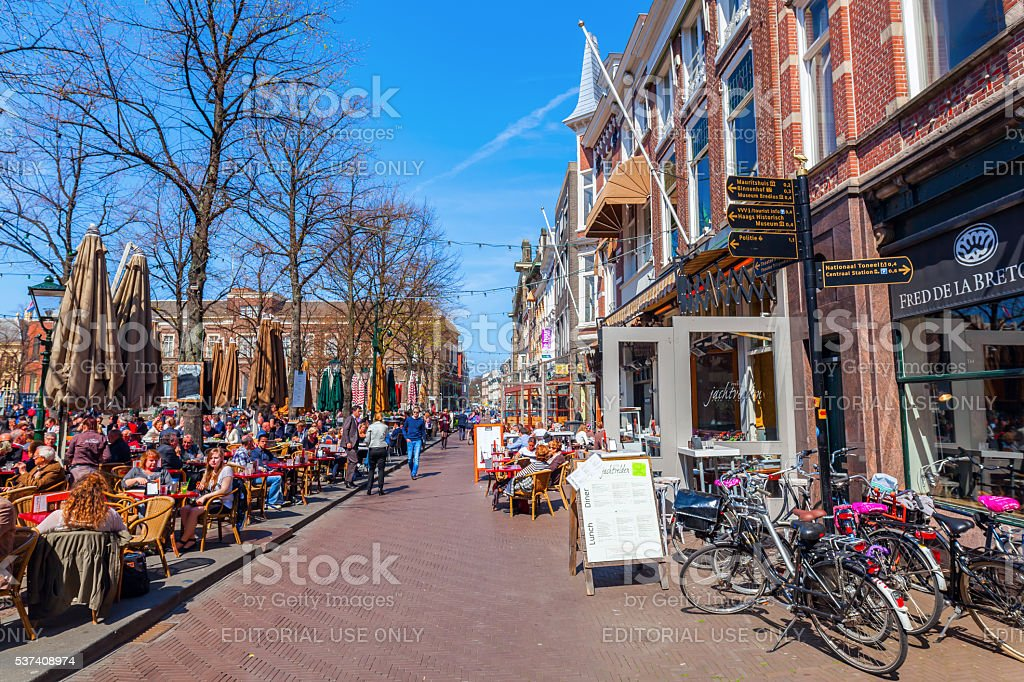 City Square Plein with unidentified people in The Hague, Netherlans stock photo