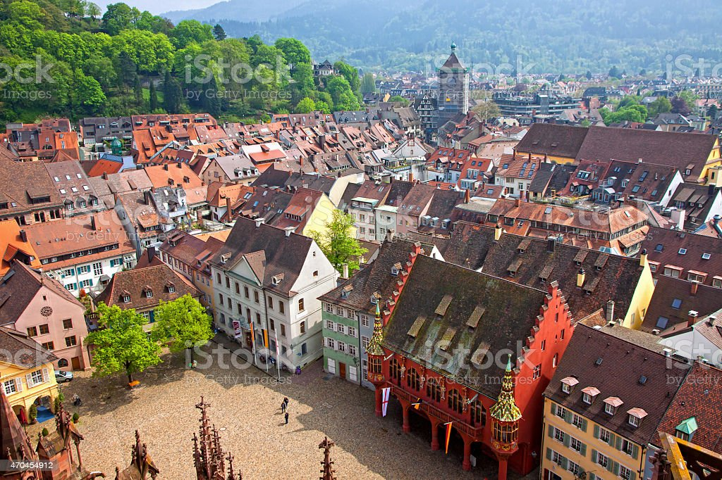 City square roof top view in Freiburg, Germany stock photo